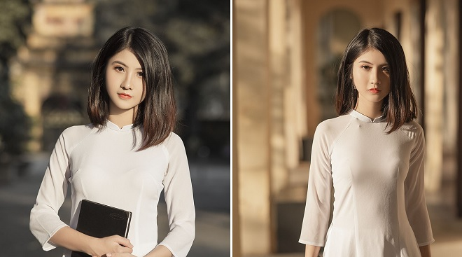 Nữ sinh ngành Thiết kế thời trang trong tà áo dài trắng tỏa sáng dưới nắng thu Hà Nội