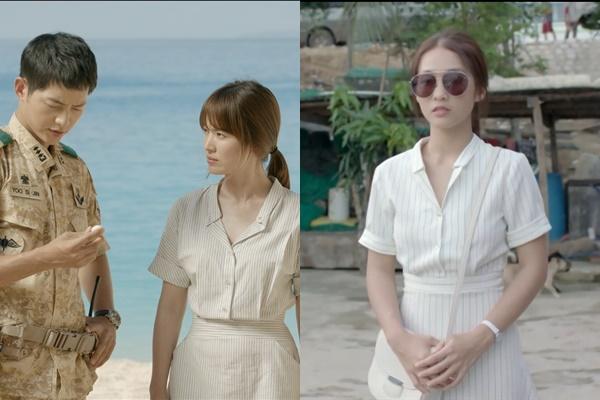"""Diễn xuất không được như Song Hye Kyo, Khả Ngân quyết định """"cóp"""" luôn trang phục để bù lại"""