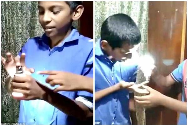 Lạ lùng cậu bé 9 tuổi sở hữu khả năng làm sáng bóng đèn chỉ bằng tay không