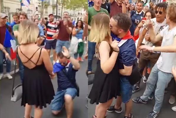 Tranh thủ tỏ tình giữa đám đông ăn mừng tuyển Pháp vô địch World Cup, chàng trai nhận cái kết đắng