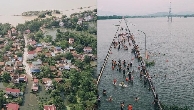 Ngoại thành Hà Nội ngập lụt phải sơ tán, người dẫn vẫn kéo nhau ra tỉnh lộ để bơi