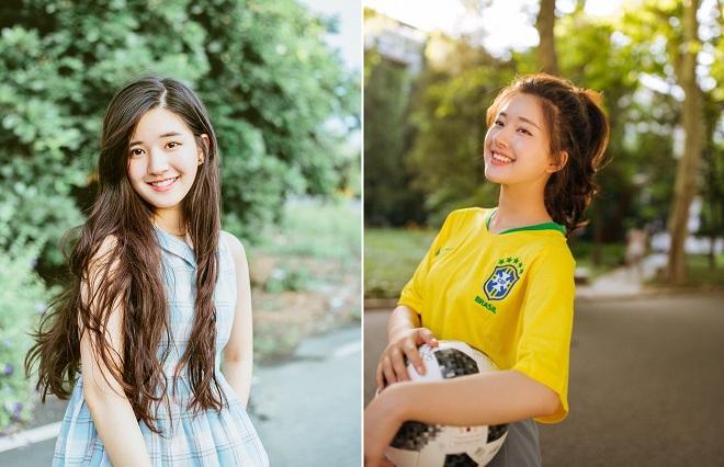 Nữ sinh đẹp tinh khôi như nắng mai gây sốt với bộ ảnh cổ vũ các đội bóng tại World Cup 2018