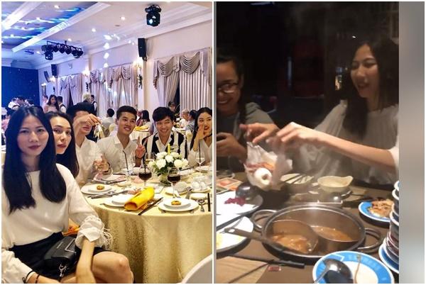 Đi ăn cùng Nguyễn Hợp và Lại Thanh Hương, Cao Ngân gói đồ ăn cất vào trong ngực mang về