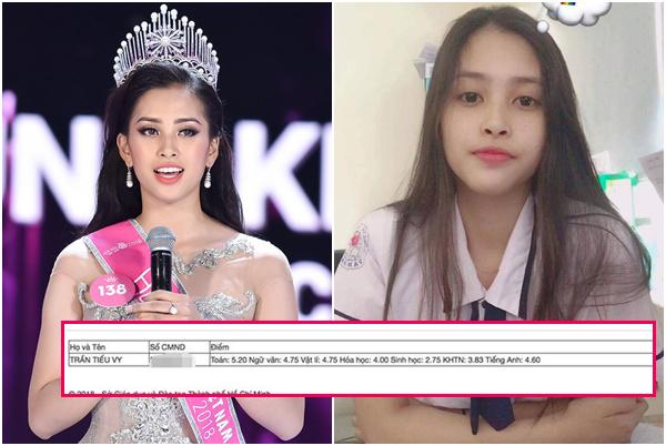 Hoa hậu Tiểu Vy lộ bảng điểm tốt nghiệp THPT thấp tệ hại toàn dưới 5, tiếng Anh quá yếu kém!