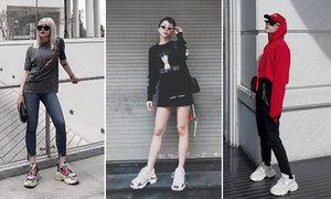"""Diện sneakers """"thô"""" nhưng không """"kệch"""", loạt sao Việt thể hiện khả năng mix đồ """"thần sầu"""" với ca khó Triple S của Balenciaga"""