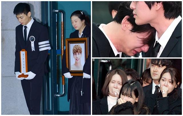 Khoảnh khắc đau đớn trong tang lễ của Jonghyun: Minho gượng cười, Key òa khóc nức nở!