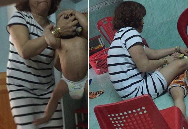 Clip gây phẫn nộ: Bảo mẫu bắt trẻ nhỏ cởi trần, nằm ngửa dưới sàn nhà vừa trút thức ăn vừa thẳng tay tát vào mặt