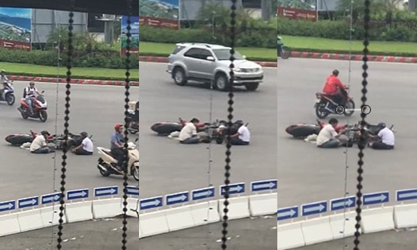 Đà Nẵng: Đụng xe giữa đường, 2 người đàn ông cởi mũ ngồi tâm sự chờ công an tới đáng yêu muốn chớt