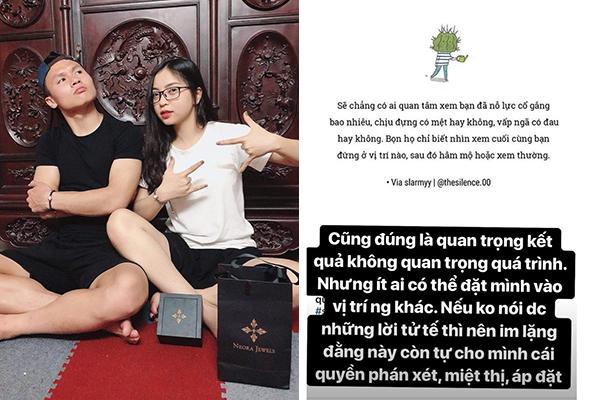 """Bạn gái U23 Quang Hải: """"Nếu không nói được lời tử tế thì nên im lặng"""""""