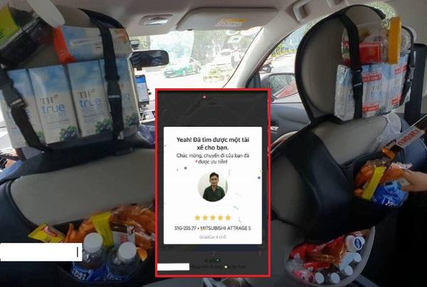 Xếp hàng dài để được đi xe của tài xế Grab có tâm mang cả cửa hàng tạp hóa lên xe để phục vụ khách miễn phí