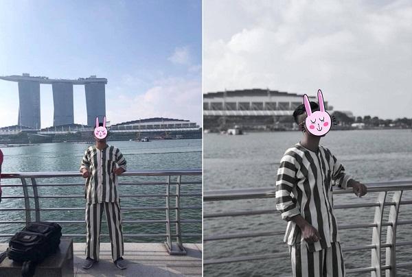 Bộ ảnh gây sốt: Mặc đồ kẻ sọc giống quần áo phạm nhân check-in sang chảnh ở Singapore