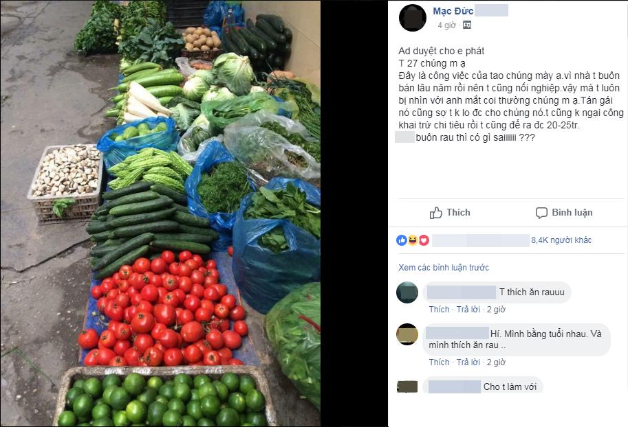 """Chàng trai Hải Dương đi buôn rau thu nhập 25 triệu/tháng vẫn bị bạn gái đá, buồn rầu lên mạng hỏi """"bán rau có gì sai?"""""""
