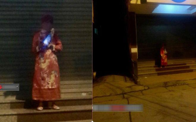 """Cô gái tá hỏa khi 12h đêm bắt gặp một người mặc áo quan đứng trước của ngân hàng chẳng khác gì """"cô hồn"""""""
