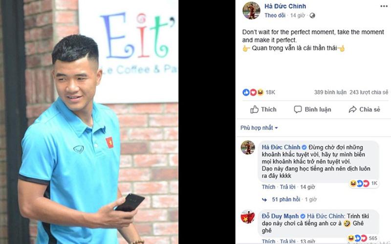"""Đức Chinh đăng status bằng tiếng Anh, quản lý ngay lập tức """"cầu cứu"""": """"Bạn nào hack FB của Chinh đen hãy trả lại cho Chinh"""""""