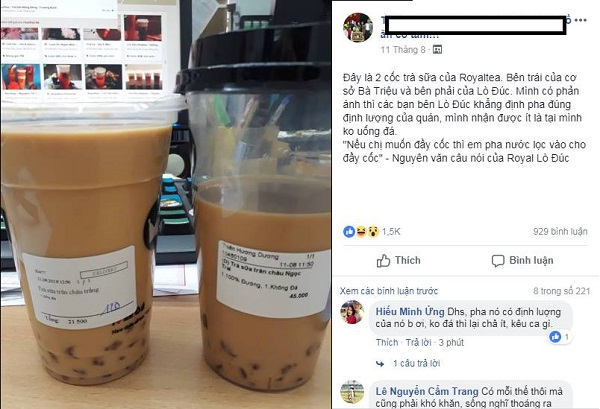 Bức ảnh gây tranh cãi: Mua trà sữa nhưng không uống đá vẫn được múc đầy hay chỉ được cốc vơi?