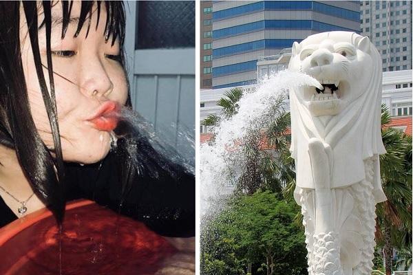 Khi bạn bắt trend tạo dáng dưới nước nhưng chợt nhận ra mình giống hệt biểu tượng sư tử biển Singapore