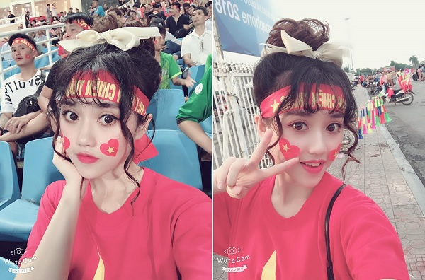 """Hotgirl bị tố """"diễn sâu"""" để cố gây sự chú ý ống kính máy quay trên khán đài trận U23 Việt Nam và U23 Uzbekistan"""