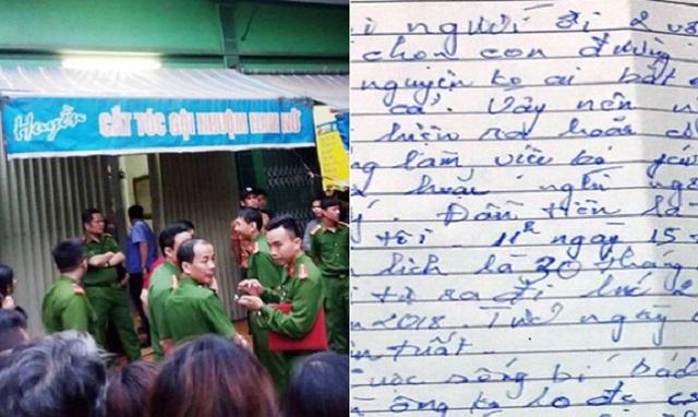 Cặp vợ chồng trẻ chết trong tiệm cắt tóc để lại lá thư tuyệt mệnh hé lộ nguyên nhân quẫn trí