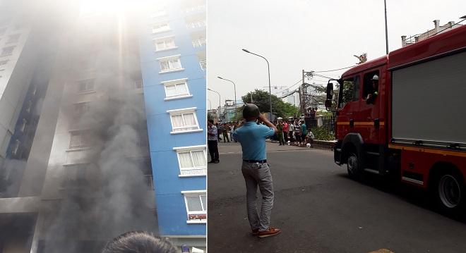 Chung cư Carina Plaza bốc cháy lần thứ 2 giữa trưa, người dân hốt hoảng chạy tán loạn
