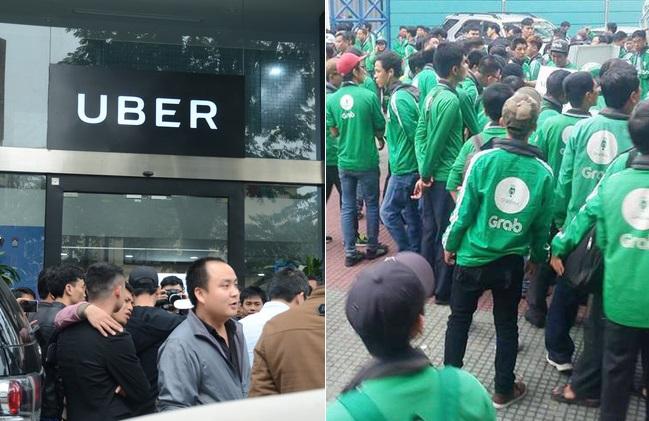 Hàng trăm tài xế Grab, Uber ở Hà Nội và Sài Gòn đình công, kéo nhau đến công ty phản đối tăng chiết khấu