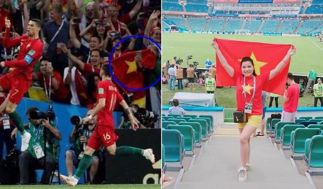 """Tìm thấy fangirl """"chất chơi"""" mang lá cờ Việt Nam đến các trận đấu tại World Cup 2018"""