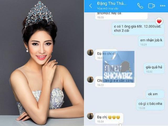 """Lại lộ tin nhắn Hoa hậu Đặng Thu Thảo bị """"gạ đi khách"""" với ông già giá 12.000 USD?"""