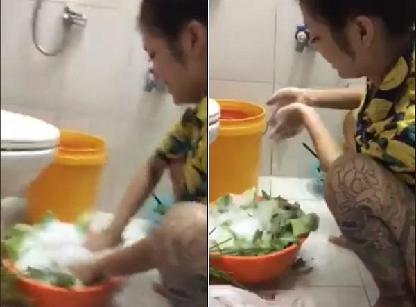 """Cạn lời với cô gái xăm trổ rửa rau bằng xà phòng: """"Rửa bằng xà phòng nó mới sạch"""""""