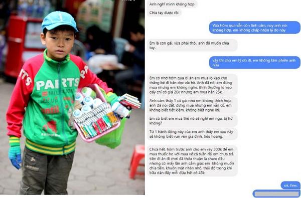 Mua lọ kẹo đắt hơn 5 nghìn của bé trai bán hàng rong, cô gái bị người yêu chia tay vì không biết tiết kiệm