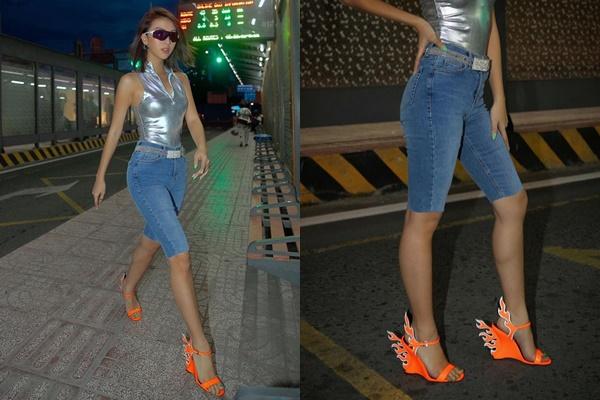 Tiết kiệm như Quỳnh Anh Shyn: Cắt thẳng quần skinny jeans cũ thành quần đua xe đạp thời thượng