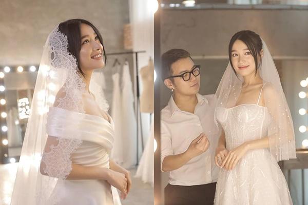 Full bộ ảnh thử váy cưới trước giờ G của Nhã Phương, lộ vòng 1 nảy nở đã mắt