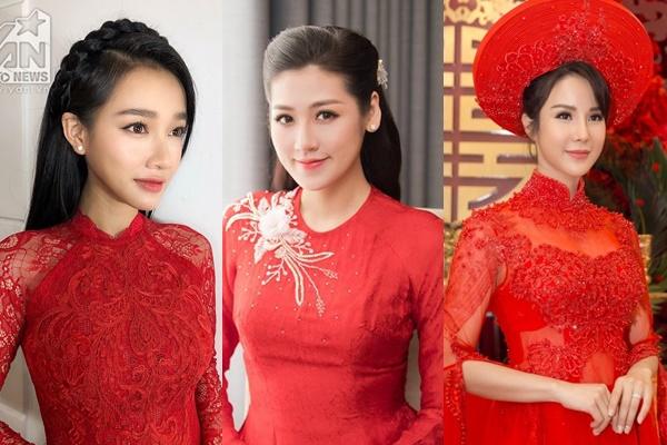 Đi sự kiện diện toàn đồ hiệu độc lạ, nhưng đến đám hỏi là các mỹ nhân Việt lại rủ nhau mặc áo dài đỏ truyền thống