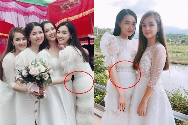 """Cuồng váy trắng là thế mà đi đám cưới em họ, Nhã Phương lại mặc cực """"lỗi"""", nhưng hóa ra đó chỉ là chiêu để che vòng 2 to bất thường"""