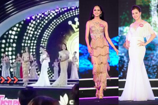 """Lại xuất hiện thí sinh """"xấu tính"""" đá váy bạn thi không thương tiếc ngay trên sân khấu Hoa hậu Việt Nam"""