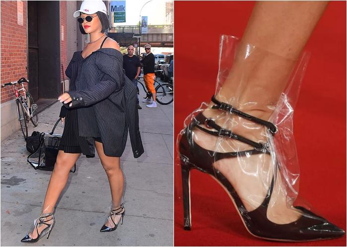 """Sự thật """"động trời"""" về đôi giày cao gót bọc nylon kì dị của Rihanna"""