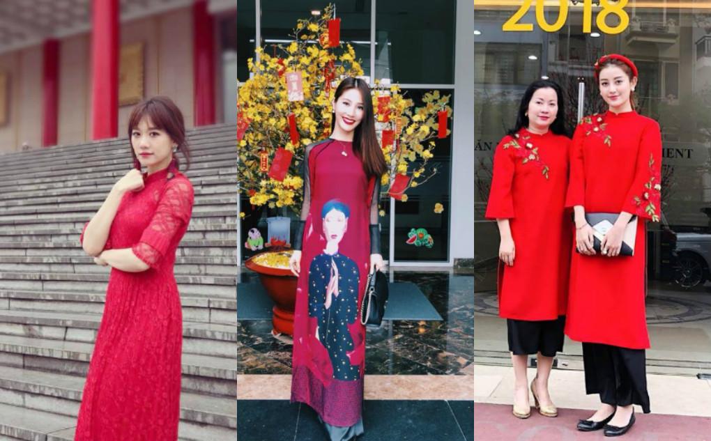 """Mới đầu năm mới, cả loạt mỹ nhân Việt thi nhau """"phủ đỏ"""" MXH: Huyền My, Tú Anh duyên dáng Áo dài, trong khi Kỳ Duyên lại mặc cực """"lạ"""""""