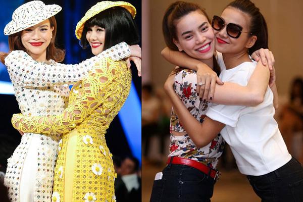 """Khoảnh khắc """"lịch sử"""" của thời trang Việt: Thanh Hằng, Hà Hồ nắm tay nhau """"tung tăng"""" trên sàn catwalk, ôm hôn thắm thiết đập tan tin đồn rạn nứt tình"""