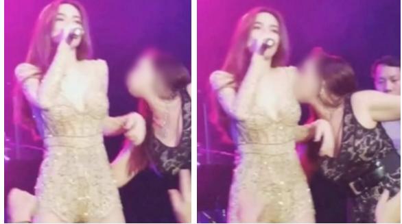 """Đang quẩy cực sung, Hà Hồ bị fans cuồng lao lên sàm sỡ, """"hôn ngực"""" công khai và cái kết"""