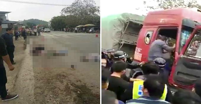 Kinh hoàng cảnh xe tải điên đâm hàng chục học sinh đang băng qua đường