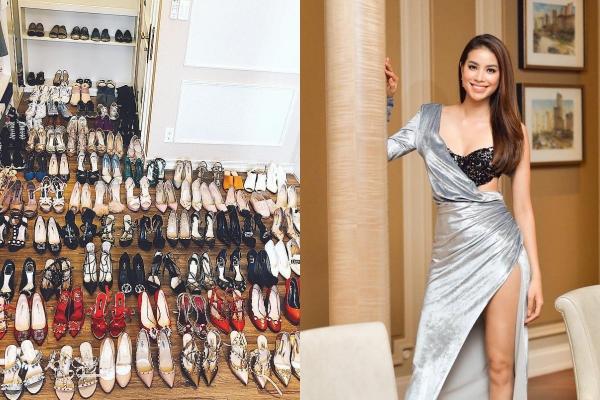 """Vừa tuyên bố khoá Facebook, Phạm Hương khiến fan choáng ngợp vì màn """"dọn tủ"""" cả trăm đôi giày hàng hiệu"""