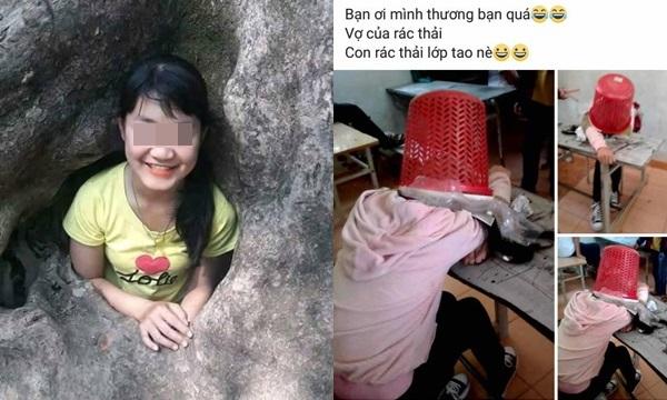 Nữ sinh 2k5 úp cả sọt rác bẩn lên đầu bạn cùng lớp, vui vẻ chụp ảnh khoe Facebook