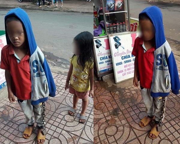 Phẫn nộ hình ảnh bé trai bị xích tay chân đi khắp nơi kêu cứu mà chẳng ai giúp
