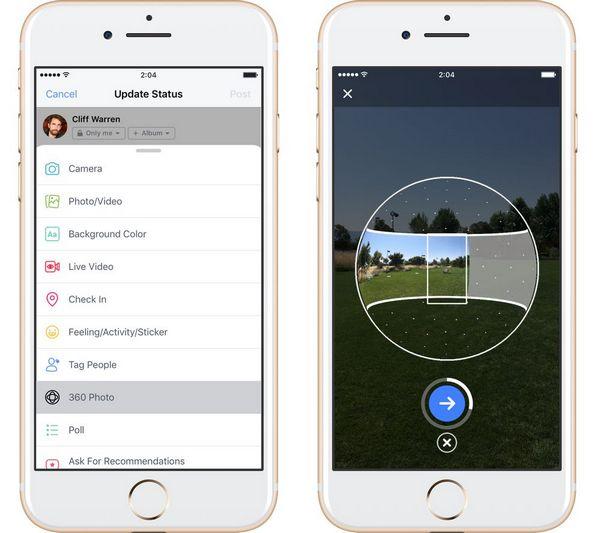 Người dùng Facebook đã có thể chụp ảnh 360 độ trên thiết bị di động